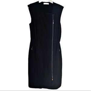 Zapa Black Asymmetrical Front Zipper Dress